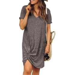Damer rund hals kort ärm knuten klänning Street Style