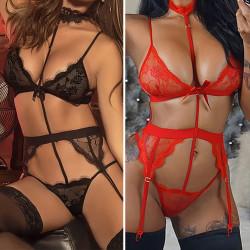 3ST Ladies Sexig Temptation Strumpeband Strumpor Underkläder Pyjamas Red(3PCS) 2XL