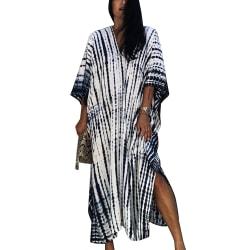 Ladies Smudge Beach Robe Casual Light Fashion V-neck Beach Wear White One size