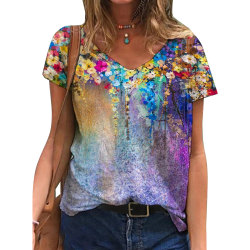 Ladies Summer Floral Painting Print T-shirt Breathable and Soft Purple XL