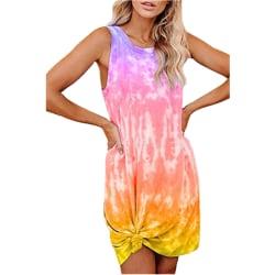 Ladies Summer Tie-dye Print Loose Vest Dress U-neck Casual