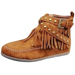 Womens Faux Suede Leather Tassel Moccasin Boots Casual Shoes Brown 42