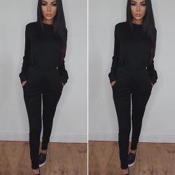Ladies Womens Sweatshirt Running Tracksuits Suit Lounge Sets Black L