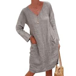 Långärmad V-ringad klänning Bomullslinnfickor lös komfort