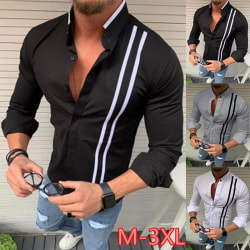 Man Business Shirts Long Sleeves Stripe Blouse white M