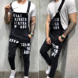 Men Alphabet Print Denim Suspender Jeans BLack S