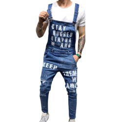 Men Alphabet Print Denim Suspender Jeans Deep Blue M