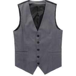 Men Back Tie Knot Suit Vest Button Cardigan Slim Jacket Coats Gray L