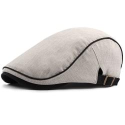 Män British Style Cotton Beret Street Fashion Peaked Cap Beige