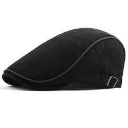 Män British Style Cotton Beret Street Fashion Peaked Cap Black