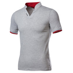 Herr Business Wear Stand-up Collar Letter Polo Shirt Match Gray L
