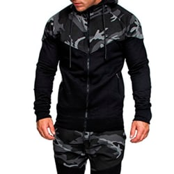 Men Camouflage Color Block Hooded Jacket Casual Outdoors Coats Deep gray XL