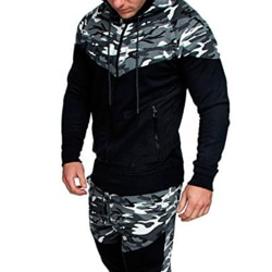 Men Camouflage Color Block Hooded Jacket Casual Outdoors Coats light gray 2XL