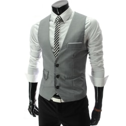 Men Chain Button Suit Vest Jacket Cardigan Short Slim Coats Gray 3XL