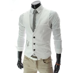 Men Chain Button Suit Vest Jacket Cardigan Short Slim Coats White L