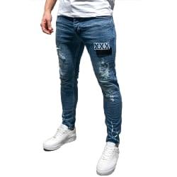 Men Commuter Denim Pants Badge Worn Comfort Stretch Denim Jeans Deep blue XL