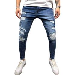 Men Fashion Lateral Line Design Ripped Jeans DarkBlue 2XL