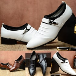 Men Fashion Pointed Toe Formal Shoes Buckle white 41