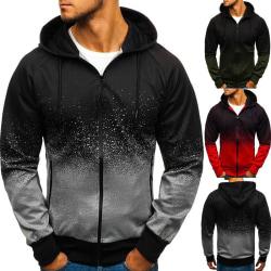 Men Gradient Color Sport Hooded Coat Hoodies grey M