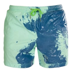 Men Gradient Dye Print Waterproof Swimwear Shorts Blue XL