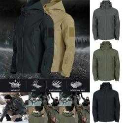 Men High Collar Multi-pocket Coat Lightweight black M