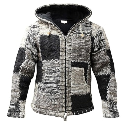 Men Hippie Patchwork Hoodie Fleece Zip Hooded Festival Jacket L