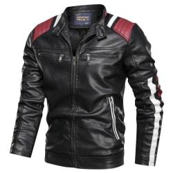 Men Leather Jacket Autumn Winter Fashion Men black L