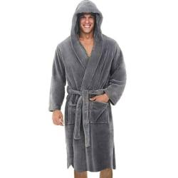 Men Long Sleeve Hooded Bathrobe Towel Soft Loungewear Pajamas Grey L