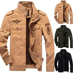 Men Long Sleeve Solid Color Jacket Male Black L