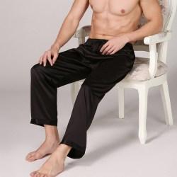 Men lounge Loose Pajamas Trousers Indoors Panties Solid color Black L