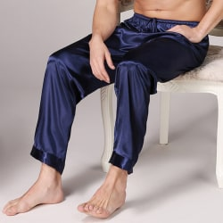Men lounge Loose Pajamas Trousers Indoors Panties Solid color blue 3XL