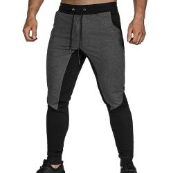 Men Patchwork Drawstrinig Tight Sweat Pants Deep Grey L