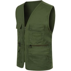 Men Pocket Zipper Fisherman Vest Jacket Casual Street Cool Coats ArmyGreen 2XL