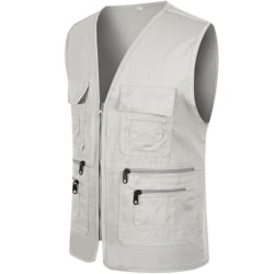 Men Pocket Zipper Fisherman Vest Jacket Casual Street Cool Coats Light gray 3XL