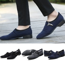 Men Pointed Toe Buckle Business Shoes Luxury blue 39