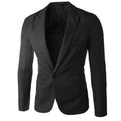 Men Professional Business Wear Suit Jacket Buttons Pocket Coats Black L