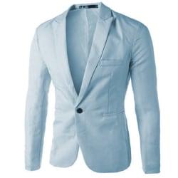 Men Professional Business Wear Suit Jacket Buttons Pocket Coats sky blue 3XL