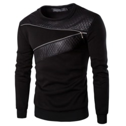 Men Pullover Round Neck Sweater Long Sleeve Chest Zip Design Black XL