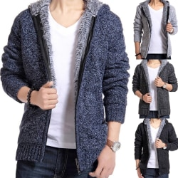 Men's Brushed Thickening Knit Cardigan dark gray L
