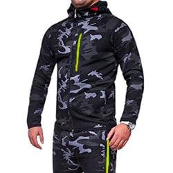 Herrjacka med kamouflage dragkedja för fritidskläder utomhus Deep gray XL