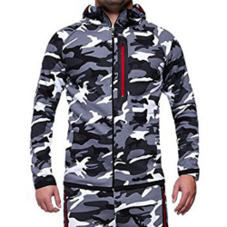 Men's Camouflage Zipper Hooded Jacket For Outdoor Casual Wear Light gray M