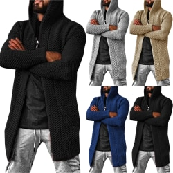 Men's Cardigan Solid Color Hoodie Knitted Sweater Blue XL