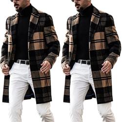 Men's Casual Long Wool Warm Plaid Coat M