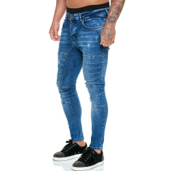 Men's Casual Slim Jeans Demin Leggings Trousers Blue M