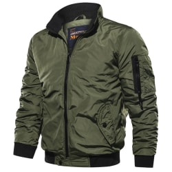 Men's Casual Solid Color Stand-Up Collar Flight Jacket Green L