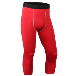 Men's Casual Sports 7-point Pants Stretch Lightweight Fitness Red M