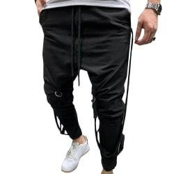 Men's Casual Sports Pants Hip-hop Fitness Black XL
