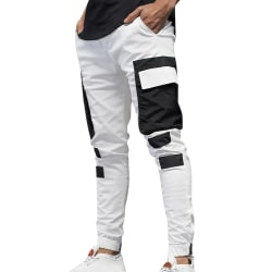 Men's Casual Sports Pants Woven Pocket Slim Trousers White XL