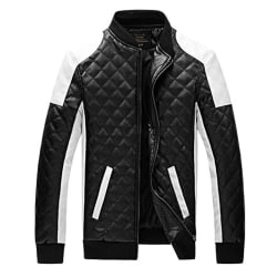 Men's Casual Stand Collar Rhombic PU Leather Jacket Black M