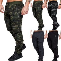 Men's Casual Zipper Pocket Camouflage Sports Pants Green 3XL